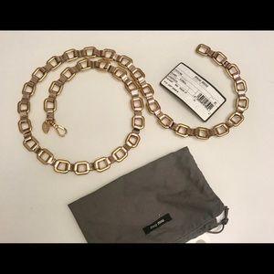 MIU MIU belt gold chain pink metallic leather